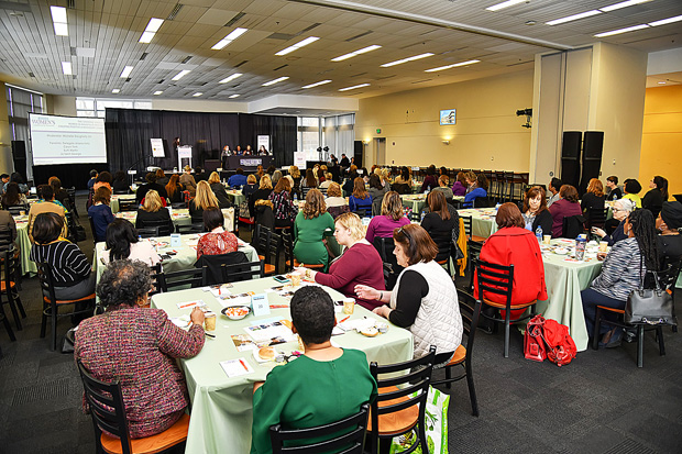 The crowd of more than 150 guests listens to the opening panel discuss the growing female voice in Annapolis at the 2019 Women's Leadership Summit. (Photo by Maximillian Franz)