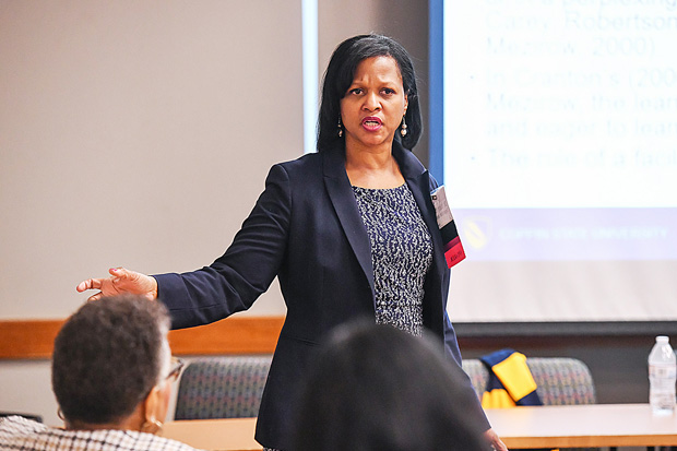 Dr. Tracey L. Murray, dean of the College of Health Professions and director of the health centers at Coppin State University, lead a session on Leading Optimally and finding balance of one's mind, health, faith, family and focus. (Photo by Maximillian Franz)