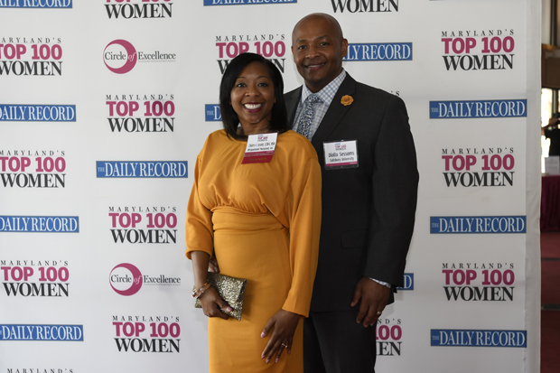 2019 Top 100 Women winner Chalarra A. Sessoms, clinical director of Wraparound Maryland, Inc., poses with Diallo Sessoms, a professor at Salisbury University. (Photo by Steve Ruark for The Daily Record)