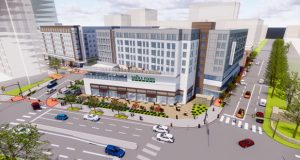 An artist's rendering of a Whole Foods grocery to anchor Towson Row, a 1.2 million-square-foot development will include more than 75,000 square feet of retail/restaurant space, 150,000 square feet of Class A office space, 300 student housing units, 200 luxury high-rise residential units and a 220-room hotel. (Submitted rendering)