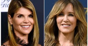 FILE - This combination photo shows actress Lori Loughlin at the Women's Cancer Research Fund's An Unforgettable Evening event in Beverly Hills, Calif., on Feb. 27, 2018, left, and actress Felicity Huffman at the 70th Primetime Emmy Awards in Los Angeles on Sept. 17, 2018. Loughlin and Huffman are among at least 40 people indicted in a sweeping college admissions bribery scandal. Both have been charged with conspiracy to commit mail fraud and wire fraud and are scheduled to make their initial appearances in Boston federal court. (AP Photo, File)