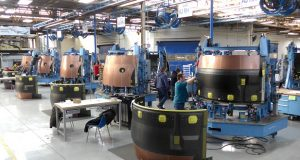 Thrust reverser transcowls undergo final assembly at Middle River Aerostructure Systems. (MRSA)