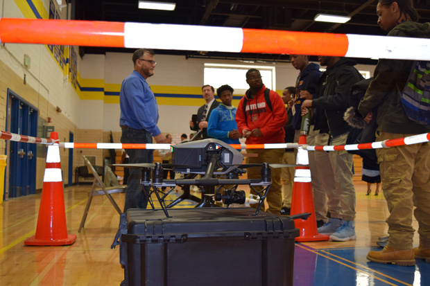 Yale Cohen of Century Engineering gives a presentation to students during their visit to learn about job opportunities in land surveying. (Photo courtesy of Urban Alliance)