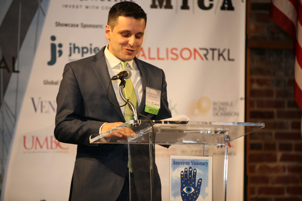 Eddie Resende, chief operations officer with the World Trade Center Institute, addresses the crowd at the American Visionary Art Museum in Baltimore. (Photo courtesy of the World Trade Center Institute)