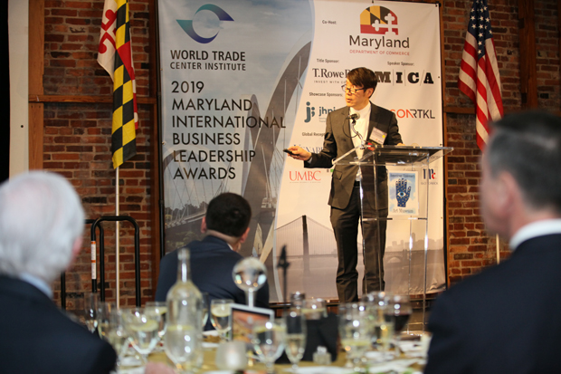 Samuel Hoi, president of the Maryland Institute College of Art, was the featured speaker for the 23rd Maryland International Business Leadership Awards. (Photo courtesy of the World Trade Center Institute)