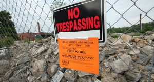 The city of Baltimore issued a stop-work order after developers demolished two historic mills in Woodberry. (Adam Bednar)