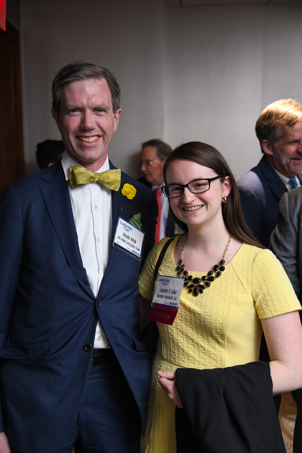 Kevin Frick, vice dean of education at the Johns Hopkins Carey Business School, stands with 2019 Generation J.D. winner Lauren E. Lake, an associate with Gordon Feinblatt LLC. (Photo by Maximilian Franz)