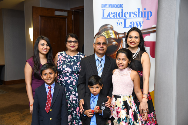2019 Generation J.D. winner Indira K. Sharma, far right, a partner with Saul Ewing Arnstein & Lehr, poses with her family before the awards ceremony. (Photo by Maximilian Franz)