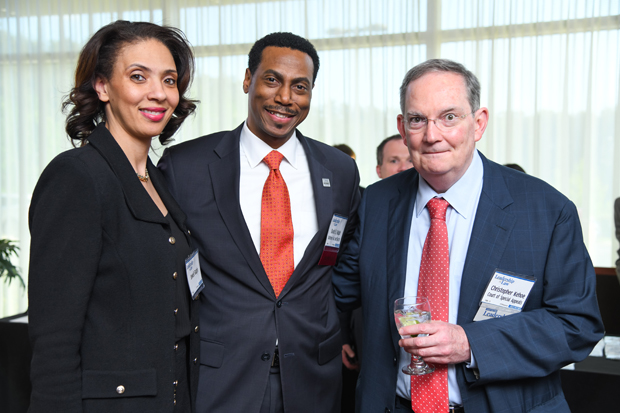 2019 Leadership in Law winner David E. Ralph, associate general counsel with BGE, stands with his wife, Jewell Ralph, and past winner Maryland Court of Special Appeals Judge Christopher Kehoe. (Photo by Maximilian Franz)