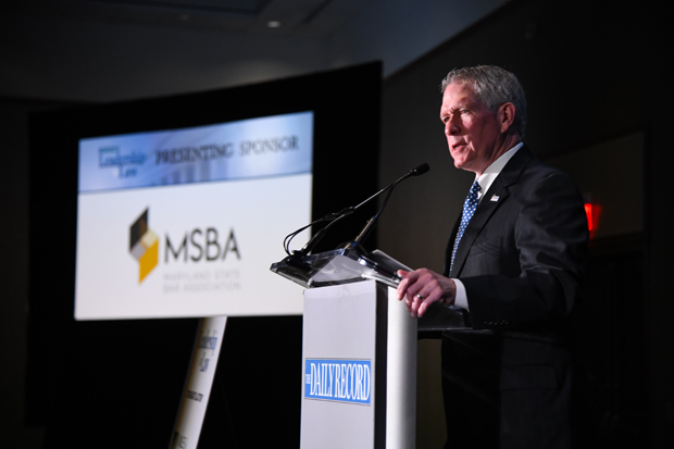 Maryland State Bar Association president Judge Keith R. Truffer, an associate judge in the Baltimore County Circuit Court, welcomes guests to the 2019 Leadership in Law awards celebration. The MSBA was the presenting sponsor of the event. (Photo by Maximilian Franz)