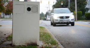 A speed camera on Old Harford Road outside of the Hamilton Elementary Middle School. (File Photo/The Daily Record)