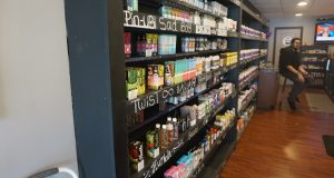 Some of the stock at VAPE180 in Annapolis is displayed on the store's shelves. (Capital News Service/Charlie Youngmann)