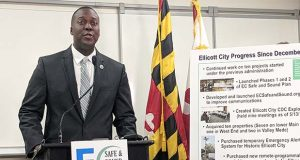 Howard County Executive Calvin Ball speaks about a flood plan for Ellicott City on Monday, May 13, 2019, at Howard County's George Howard Building in Ellicott City. (The Daily Record / Tim Curtis)
