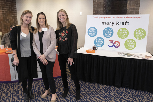 From left, Mary Kraft Staffing and HR Solutions colleagues Katherine Moriarty, a human resources specialist, and recruiters Jennie Freeland and Nicole Vercollone attended the Insight ConneX AM breakfast. (Photo by John Coyle)