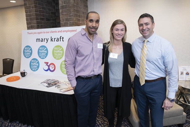 From left, Mary Kraft Staffing and HR Solutions recruiter Sean Craft and human resources specialist Katherine Moriarty spend time with Josh Guerke of 98 Rock at the Insight ConneX AM breakfast. (Photo by John Coyle)