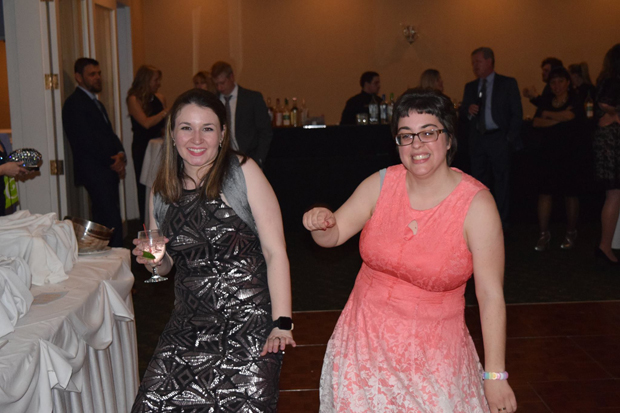 Shelby Anderson, left, a vocational trainer with The Arc Northern Chesapeake Region, and Ashley Wines enjoy the evening's festivities at the Maryland Golf & Country Club in Bel Air. (Photo by The Arc Northern Chesapeake Region)