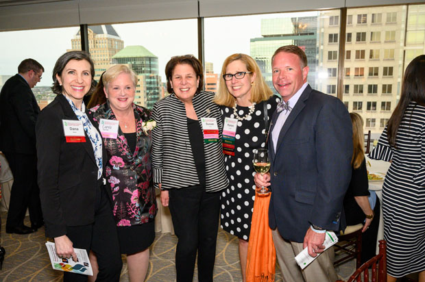 From left, Dana Gloor, a principal with Miles & Stockbridge; Dr. Carole Miller, director of the cancer institute with St. Agnes Healthcare; Susan Ganz, CEO and chair of Lion Brothers Co.; Karen Singer, a principal with KMS Partners LLC; and Morgan Gilligan, vice president and senior business development officer with Stewart Title, attended the 39th annual Girl Scouts of Central Maryland's Distinguished Women's Award Celebration. (Photo courtesy of Glenwood Jackson Photography)