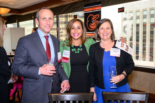 Law talk was on the docket at The Center Club as David Shuster, a principal with Kramon & Graham; Michelle Lipkowitz, a partner at Saul Ewing Arnstein & Lehr; and Stacie Tobin, a partner at Venable LLP, enjoy some time together at the 39th annual Girl Scouts of Central Maryland's Distinguished Women's Award Celebration. (Photo courtesy of Glenwood Jackson Photography)