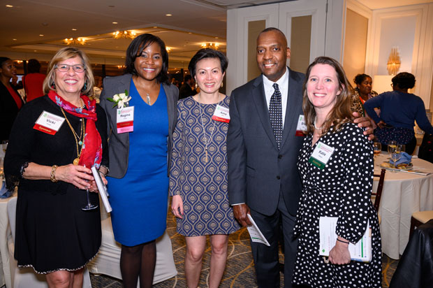 From left, Vicki Franz, publisher/founder of I95 Business; Regina Curry, chief diversity officer of Legg Mason; Amy Seto, endowments and foundations relationship adviser with Brown Advisory; Brian Cobb, chief technology officer of Brown Advisory; and Katie Allston, executive director of Marian House, gather for a photo at The Center Club. (Photo courtesy of Glenwood Jackson Photography)