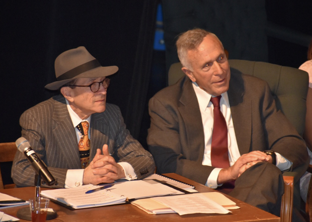 Defendant's lawyer Paul Mark Sandler, left, a partner at Shapiro Sher, sits with his client, Al Capone, played by Ronald M. Shapiro. (Photo courtesy of the Maryland State Bar Association)