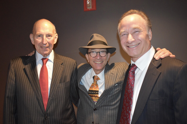 """From left, James B. Stradtner, chairman of the board of Stevenson University; Paul Mark Sandler, a partner at Shapiro Sher; and Elliott Hirshman, president of Stevenson University, take a photo during """"The Trial of Al Capone."""" Stradtner played a juror in the play written by Sandler while Hirshman was assigned the role of Capone underling Frank Nitti. (Photo courtesy of the Maryland State Bar Association)"""