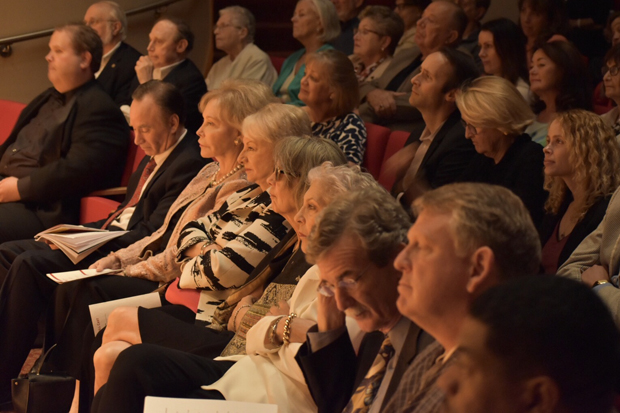 """The audience at Stevenson University's Inscape Theatre watch the performance of """"The Trial of Al Capone."""" (Photo courtesy of the Maryland State Bar Association)"""