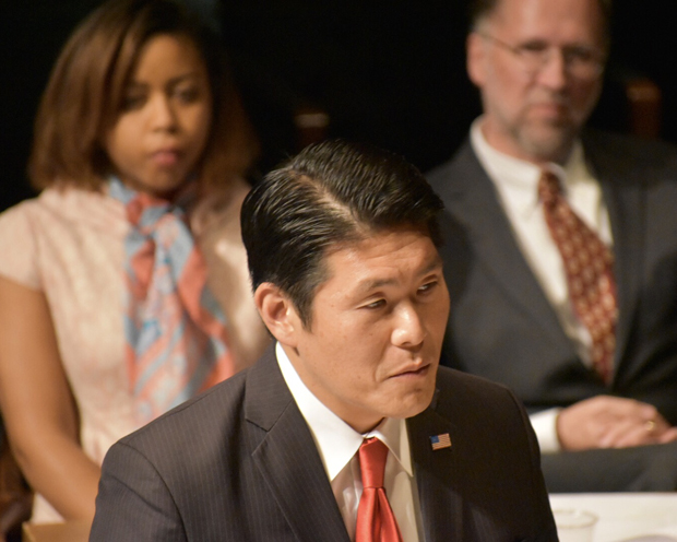 """Robert Hur, the U.S. Attorney for the District of Maryland, makes a point in proceedings as he played the chief lawyer for the government in """"The Trial of Al Capone."""" (Photo courtesy of the Maryland State Bar Association)"""