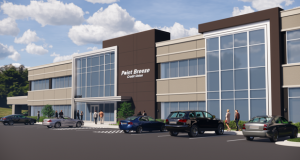An artist's rendering of Point Breeze Credit Union's expanded, two-story, 20,000-square-foot addition to its corporate offices at 11104 McCormick Road. (Submitted rendering)