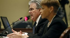 University System of Maryland Chancellor Robert Caret, left, and Board Chair Linda Gooden appear at a legislative hearing in 2018 in Annapolis. (AP Photo/Patrick Semansky, File)