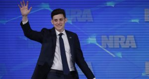 Kyle Kashuv, a survivor of the Marjory Stoneman Douglas High School shooting in Parkland, Fla., speaks at the National Rifle Association Institute for Legislative Action Leadership Forum in Indianapolis in April. On Monday, June 17, 2019, Kashuv said that Harvard University revoked his acceptance over racist comments he made online and in text messages about two years ago. (AP Photo/Michael Conroy, File)