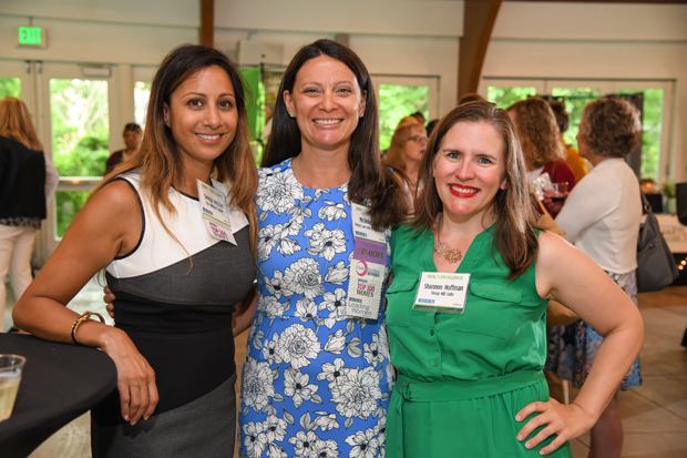 From left, Shreya Hessler, founder and director of The MINDset Center; Michelle Siri, executive director of the Women's Law Center of Maryland; and Shannon Hoffman, regional director of operations and certifying chemist at Steep Hill Labs, attended the Daily Record's Path to Excellence event. (Photo by Maximilian Franz)