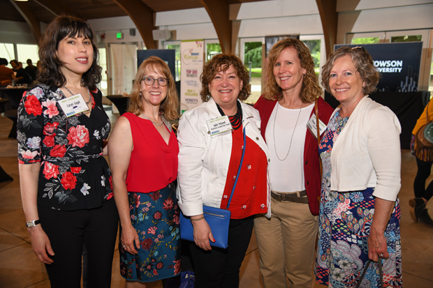 From left, Caryn Sagal, Caryn Sagal PR; Tammie J. Monaco, owner of Beck-n-Call Event Services; Julie Poland, a principal with ProActive Leadership Group; Pattie Sassano, co-founder of Fit2order; and Ellen Platt, founder and owner of The Option Group, attended The Daily Record's Path to Excellence networking event. (Photo by Maximilian Franz)