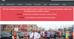 Baltimore website still shows signs of the damage done by malware attack discovered on May 7.