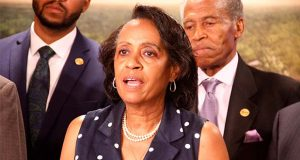 Wandra Ashley-Williams, first vice president Maryland State Conference NAACP, said poor black residents of Baltimore desperately want access to decent paying jobs. The organization believes Northeast Maglev's proposed train line will help provide those jobs.  (The Daily Record / Adam Bednar)