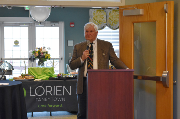 Taneytown Mayor James McCarren Jr. addresses the crowd during Lorien Health Services' new logo unveiling. (Photo courtesy of Lorien Health Services)