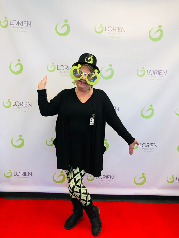 Sonya McMillion, manager of Flick's Pub, attended Lorien Health Services' new logo unveiling. (Photo courtesy of Lorien Health Services)