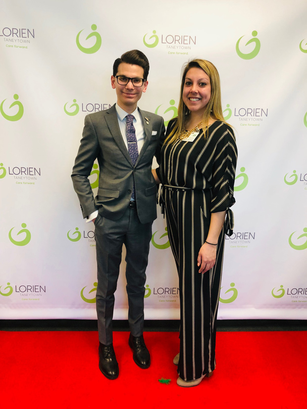 Taneytown City Councilman Joe Vigliotti and Nicole Wachtel, a community relations associate with the City of Taneytown, attended during Lorien Health Services' new logo unveiling. (Photo courtesy of Lorien Health Services)