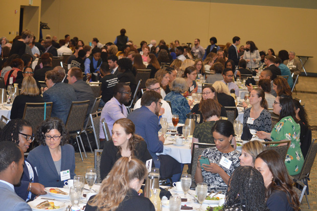 More than 245 guests enjoy lunch at the Baltimore Convention Center during the annual Maryland Partners for Justice Conference. (Photo by Elizabeth Grove, PBRC)