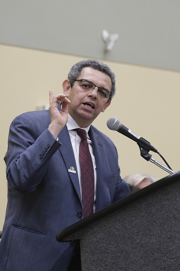 Gustavo Torres, executive director of CASA de Maryland, delivers the keynote address at the Baltimore Convention Center during the annual Maryland Partners for Justice Conference. (Photo by Coos Hamburger)