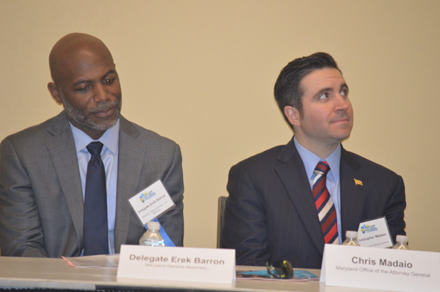 "Del. Erek Barron, D-Prince George's, left, and Maryland Assistant Attorney General Chris Madaio speak on ""Holding the Line: Protecting Maryland Consumers When Federal Oversight Fails,"" part of the ""Consumer Concerns"" track at the annual Maryland Partners for Justice Conference. (Photo by Elizabeth Grove, PBRC)"