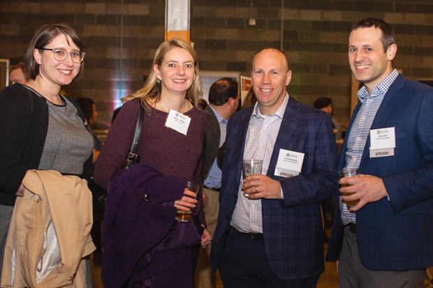 From left, Alexa Bertinelli, senior staff attorney at Civil Justice Inc.; Carrie McCully, deputy director at Civil Justice; Scott Rodgeville, an officer with Gorfine Schiller Gardyn; and Alan Smith enjoy a drink at Union Craft Brewing. (Photo by Erik Hoffman, Petruzzo Photography)