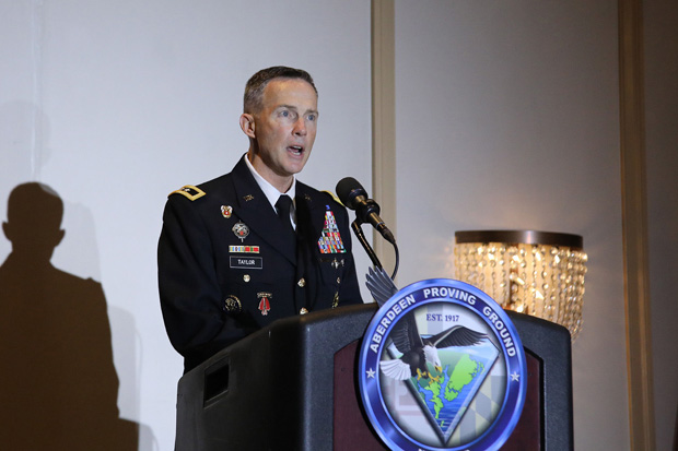 Maj. Gen. Randy S. Taylor, commander of Aberdeen Proving Ground, welcomes guests to the 42nd annual Military Appreciation Luncheon at Richlin Catering & Event Center in Edgewood. (Photo by Mid-Atlantic Photographic)