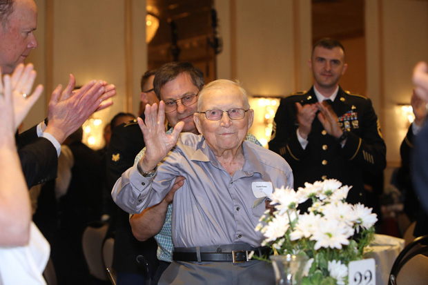 World War II veteran Vernon Foster is recognized for his service during the 42nd annual Military Appreciation Luncheon at Richlin Catering & Event Center in Edgewood. (Photo by Mid-Atlantic Photographic)