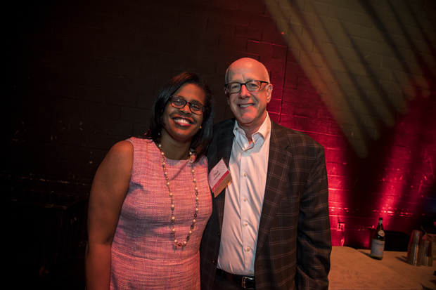 Dr. Sonja Santelises, left, CEO of Baltimore City Public Schools, spends time with Paul Wolman; co-founder of the Heart of the School Awards. (Photo courtesy of Fund for Educational Excellence)