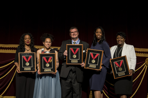 2019 Heart of the School Award winners were, from left, Danielle Tillman-Cromartie, Harford Heights Elementary; Francesca Gamber, Bard Hight School Early College; Chad Kramer, Patterson Park Public Charter School; Zulema Sockwell Moore, William S. Baer School; and Patricia Burrell, North Bend Elementary Middle School. (Photo courtesy of Fund for Educational Excellence)