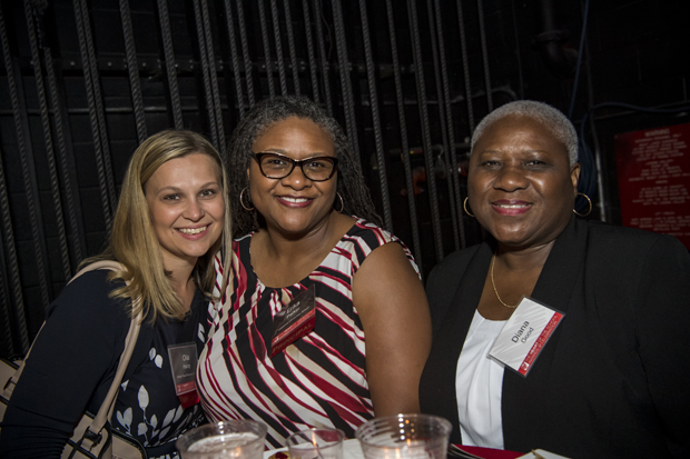 From left, Olia Hardy, principal at William Paca Elementary/Middle School; Erika Parker; principal at Lakewood Elementary School; and Diana Good attended the 2019 Heart of the School Awards. (Photo courtesy of Fund for Educational Excellence)