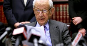 """FILE - In this Dec. 16, 2009 file photo, Manhattan District Attorney Robert Morgenthau speaks during a press conference in New York. Morgenthau, the longest-serving former Manhattan district attorney who tried mob kingpins, music stars and white-collar criminals and inspired a character on """"Law & Order"""" has died. He was 99. His wife, Lucinda Franks, told The New York Times that Morgenthau died Sunday, July 21, 2019, at a Manhattan hospital after a short illness.  (AP Photo/Bebeto Matthews, File)"""