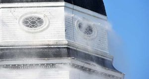 The deluge fire suppression system at the State House was tested Friday. (The Daily Record / Bryan P. Sears)