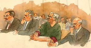 """In this courtroom sketch, defendant Jeffrey Epstein, second from right, listens along with defense attorneys, from left, Marc Fernich, Michael Miller, and Martin Weinberg as Judge Richard M. Berman denies him bail during a hearing in federal court, Thursday, July 18, 2019 in New York. Judge Berman denied bail for the jailed financier on sex trafficking charges, saying the danger to the community that would result if the jet-setting defendant was free formed the """"heart of this decision."""" (Aggie Kenny via AP)"""