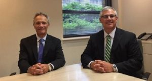 Longtime friends Michael Wyatt, left, and Timothy Gunning have merged law practices. (Submitted photo)